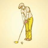 Sketch golfer Stock Image