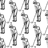 Sketch golfertargeting to hit the ball Stock Image