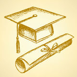 Sketch graduation hat and diploma. Scroll with ribbon Royalty Free Stock Images