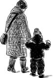 Sketch of a grandmother with her grandson going on a walk royalty free stock photo
