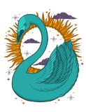 Sketch graphic illustration Beautiful bird swan color with mystic and occult hand drawn symbols. Vector illustration. Vintage prin. Ts with Old Fashion Tattoos royalty free stock photo