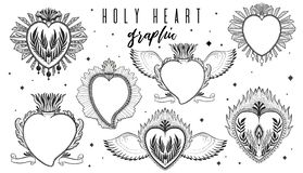Sketch graphic illustration set Holy heart with mystic and occult hand drawn symbols. Vintage Hands with Old Fashion Tattoos. Freemasonry and secret societies royalty free illustration