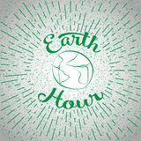 Sketch with green globe and rays, doodle icon. Illustration for saving environment at Earth Hour. Royalty Free Stock Photo