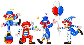 A sketch of a group of clowns. Illustration of a sketch of a group of clowns on a white background Stock Image