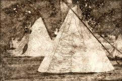 Sketch of a Group of Tipis Standing Among the Trees stock illustration