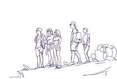 Sketch Group Of Travelers People With Backpacks Hand Drawn Abstract Hikers Tourists Team. Vector Illustration Stock Image