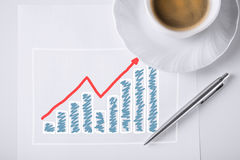 Sketch with growing chart , arrow and coffee Stock Images