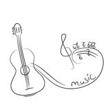 Sketch of a guitar with notes Stock Images