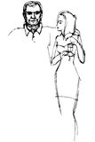 Sketch of a guy hugs a girl with a glasst Royalty Free Stock Photography