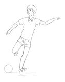 Sketch: the guy plays football Royalty Free Stock Images