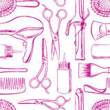 Sketch hairdressing equipment. Seamless background with sketch hairdressing equipment. hand-drawn illustration stock illustration