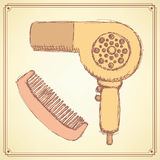 Sketch hairdryer and comb in vintage style Stock Photos