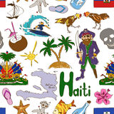 Sketch Haiti seamless pattern Royalty Free Stock Image
