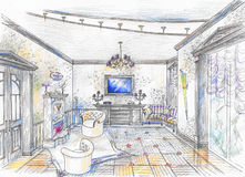 Sketch of hall with fireplace. Interior of living room in classic style with fireplace, chairs, sofa, lamp and curtain Royalty Free Stock Photos