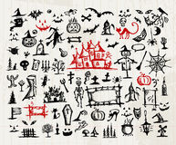 Sketch of halloween design elements Royalty Free Stock Image