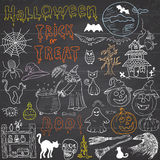 Sketch of halloween design elements with punpkin, witch, black cat, ghost, skull, bats, spiders with web. Doodles set with Letteri Stock Photos