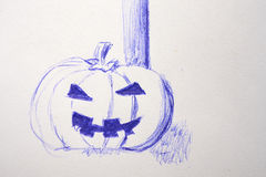 Sketch of a halloween pumpkin Royalty Free Stock Photography