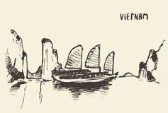 Sketch Halong Bay Vietnam Vector illustration. Sketch of the Halong Bay, Vietnam. Vector illustration stock illustration