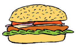 Sketch of the hamburger Stock Photos