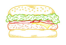 Sketch of the hamburger Stock Image