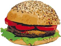 Sketch of Hamburger  illustration Royalty Free Stock Photo