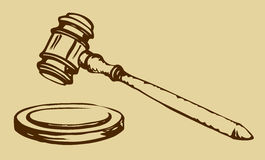 Sketch of hammer of judge Stock Photography