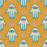 Sketch hamsa and david star Stock Photography