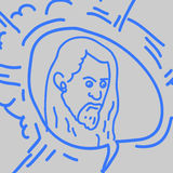 Sketch from the hand of a bearded man Stock Images