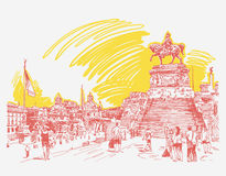 Sketch hand drawing Piazza Venezia in Rome - Altar of the Fat Stock Photography