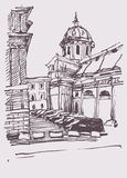 Sketch hand drawing of Rome Italy famous cityscape Stock Photos