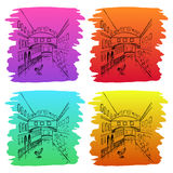 Sketch hand drawing of street. Royalty Free Stock Images