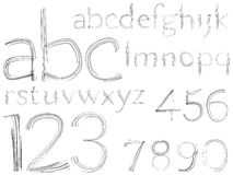 Sketch hand drawn alphabet and numbers Stock Photos