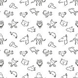 Sketch hand drawn animals seamless pattern Royalty Free Stock Photography