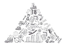 Sketch of hand drawn business and financial doodles shaped triangle isolated on white background Royalty Free Stock Photo