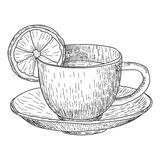 Sketch of Hand Drawn Cup with lemon mug of hot drink coffee, tea etc isolated on white background Royalty Free Stock Photography