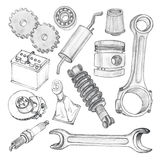 Sketch hand drawn doodles of car tools isolated on white background Royalty Free Stock Photos