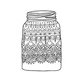 Sketch of hand drawn jar with lace Royalty Free Stock Photo