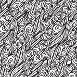 Sketch hand drawn pattern. Seamless abstract background with curls and waves Stock Photos