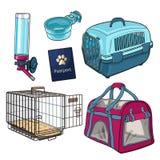 Sketch, hand drawn pet transport, travel set on white background Royalty Free Stock Photos