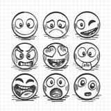 Sketch of hand drawn set of cartoon emoji. Vector illustration royalty free illustration