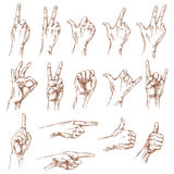 Sketch of hand gestures. Royalty Free Stock Images