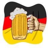 Sketch of hand holding mug of beer over german flag on Oktoberfest celebration, hand drawn illustration. Sketch of hand holding a mug of beer over german flag on Stock Photography