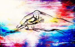 Sketch of hand holding pen, on abstract structured background. Royalty Free Stock Photography