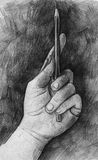 Sketch of hand with pencil Stock Images