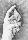 Sketch of a hand with sea shell. Hand drawn pencil sketch of a hand holding sea shell between two fingers Royalty Free Stock Photography