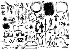 Sketch by hand. Set of drawings in ink. Symbols, arrows, banners Royalty Free Stock Photo