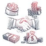 Sketch hand shaking. Doodle dollars packs, money bag, gold coins and cash symbols. Great deal and business profit vector stock illustration