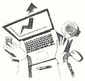 Sketch hands computer man office top view drawn Stock Image