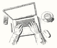 Sketch hands computer man office top view drawn Royalty Free Stock Images