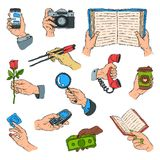 Sketch hands holdings objects and showing items people body handy part gesture presentation concept vector illustration. Royalty Free Stock Images